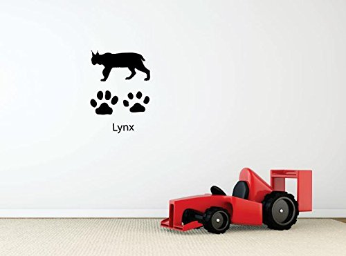 Top Selling Decals - Prices Reduced : Vinyl Wall Sticker : Lynx Paw Prints Cat Wild Outdoor Animal Bedroom Bathroom Living Room Picture Art Peel & Stick Mural Size: 20 Inches X 30 Inches - 22 Colors Available