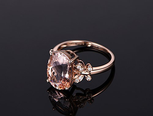 4.5 Ct Rose (Solid 18k rose gold promise ring,0.13ct SI-H Diamond engagement ring,4.5ct Oval Natural VS pink Morganite,prong set)