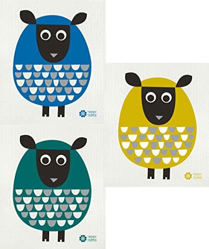 Trendy Tripper Swedish Dishcloth/Reusable Sponge Cloth Design by Jenn Ski Modern Sheep Packs of 3 Different (3 Pk: Blue/Green/Gold)