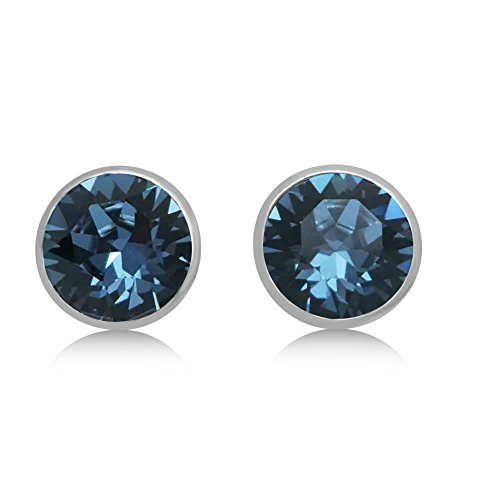 Swarovski Crystal White Gold Finish Stud Earrings - 8mm Bezel Set; 15X Premium Rhodium Plating (Denim Blue) (Earring Swarovski Bezel)