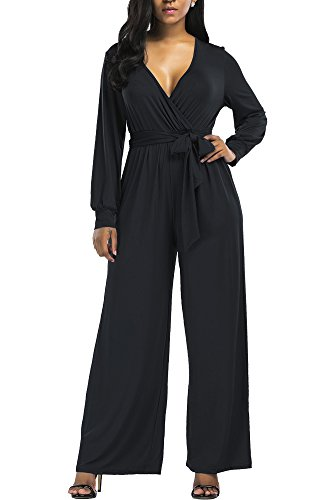 Wide Leg Jumpsuits Rompers for Women V Neck Wrap Plunge Long Sleeve Pants with Belt (8-10, Black 2) ¡­ (Wrap Jumpsuit)