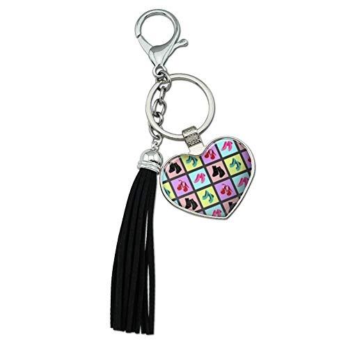 Graphics and More Cute Shoes Pattern Heels Boots Wedges Maryjanes Set Chrome Plated Metal Heart Leather Tassel Keychain from Graphics and More