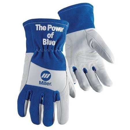 Welding Gloves, XL, Wing, 10In, BlueWhite, PR by Miller Electric