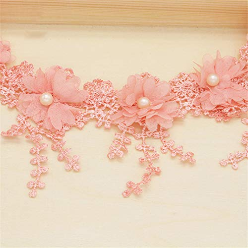 LOVESHI 1Y/Lot 7Cm Flower Embroidery Lace Fabric Trim Ribbons DIY Sewing Garment Handmade Materials Accessories C2 Flesh Pink