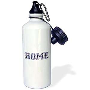 "3dRose wb_151371_1 ""Rome text-blue word art on white made from vintage Italian map-city souvenir-Italy-dark navy"" Sports Water Bottle, 21 oz, White"