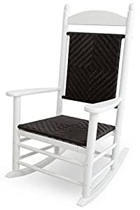 "47"" Earth-Friendly Recycled Patio Rocking Chair - White w/ Cahaba Weave"