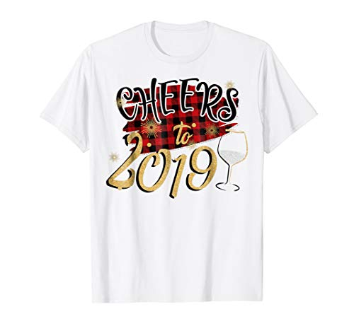 Red Plaid Cheers To 2019 Tshirt Cute Happy New Year Gifts ()