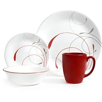 "Corelle Livingware 16-Piece Dinnerware Set, Splendor Coupe - Set includes 4 each: 10-1/4"" Dinner Plates, 6-3/4"" Bread and Butter Plates, 18 oz Soup/Cereal Bowls, 11 oz Stoneware Mugs Made with break and scratch resistant patented Vitrelle glass technology Space saving design: lightweight and thin, yet extremely durable - kitchen-tabletop, kitchen-dining-room, dinnerware-sets - 41hIB6RKU3L. SS400  -"