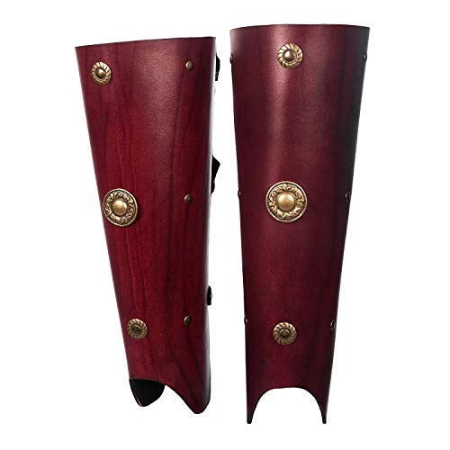 (Andracor - Greaves Roman Gladiator - Genuine Leather for Legionnaires, Antiquity, Sparta & LARP - Red )