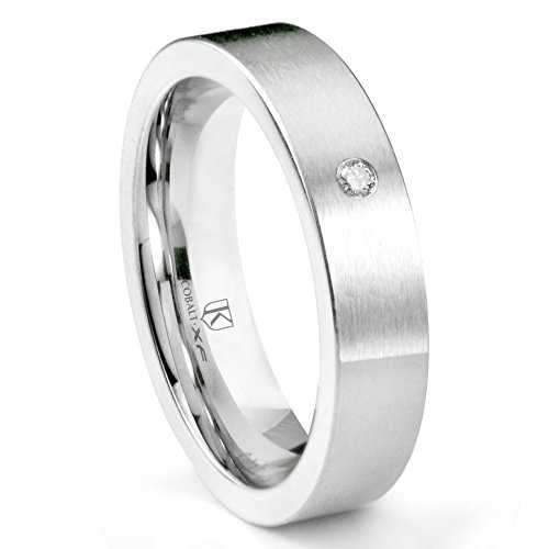 Cobalt XF Chrome 6MM Solitaire Diamond Brushed Pipe Cut Wedding Band Ring Sz (Scott Kay Diamond Band)