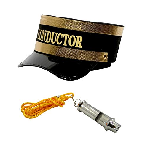 Train Engineer Conductor Hat Plus Whistle Fancy Holiday Costume -