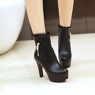 RTRY Zapatos De Mujer Polipiel Moda Otoño Invierno Botas Botas Chunky Talón Señaló Toe Botines/Botines Hebilla Para Vestimenta Casual Rojo Y Negro US5.5 / EU36 / UK3.5 / CN35