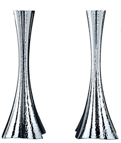 Hazorfim Bolero Hammering Silver Candlesticks - Large Shabbat candlestick sterling silver judaica Israel Jerusalem Holy land gift Sabbath candles light .925 925 wedding gift present hatzorfim by Hazorfim