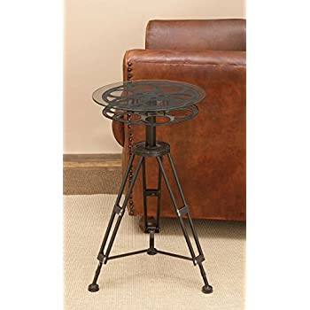 "Deco 79 51652 Metal Glass Accent Table, 25"" x 15"""