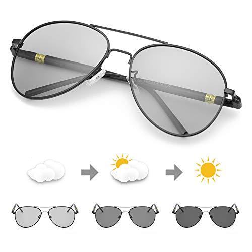 TJUTR Photochromic Pilot Sunglasses for Men with Polarized Lens for Driving - UV400 Reduce Eyes Fatigue (Black Frame/Grey Photochromic ()