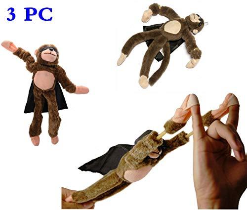 Flingshot Monkey - 3Pcs Flying Slingshot Howler Monkey Plush Toys Screaming Surprise Toy with Sound - Watch Them Fly! (Brown, Cute Dolls) (Monkey Slingshot)