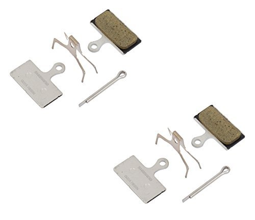 (2 Pairs of Shimano Disc Brake Pads G02A (Resin) include Spring and Safety Pin)