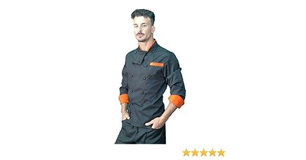 Chaqueta de Chef, para Hombre, Camisa de Cocinero, Chaqueta de cosina, Negro y Naranja, Made in Italy: Amazon.es: Ropa y accesorios