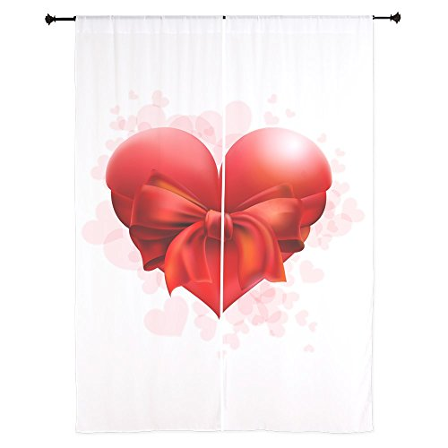 84 Inch Curtain Curtains Heart with Red Bow by Truly Teague