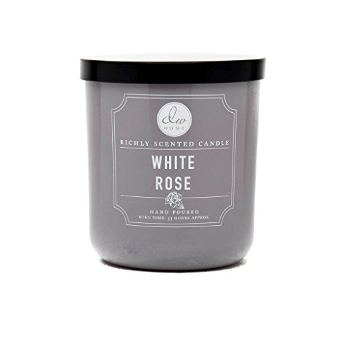 DW Home Decoware Richly Scented Candle --- White Rose Medium Single wick 9.69 (Black Company The White Rose)