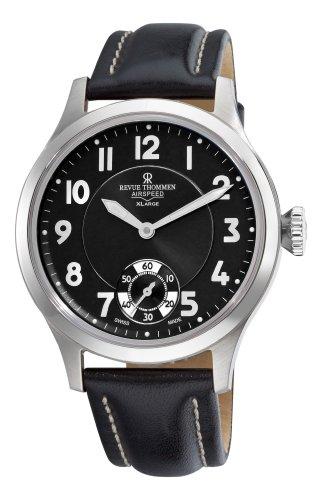 Revue Thommen Men's 16061-3537 Airspeed XLarge Retro Analog Display Mechanical Hand Wind Black Watch