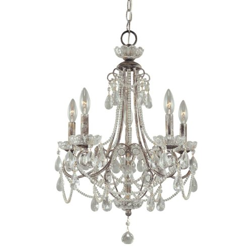 Minka Lavery 3134-207, Miniature Chandeliers Crystal Chandelier Lighting, 5 Light, 300 Watts, Silver (Mini Distressed Crystal Chandeliers Silver)