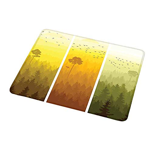 Rectangle Mouse pad Forest,Vertical Banners with Hills Trees and Birds Views from Rural Countryside,Green Orange Yellow,Waterproof Material Non-Slip Personalized Rectangle Mouse pad 9.8