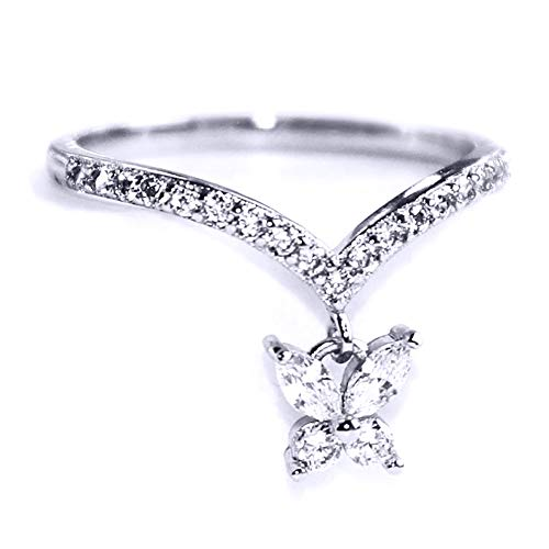 Gieschen Jewelers 'Joy' 14K White Gold-Plated Dainty Crystal V Butterfly Charm Ring, Size 7