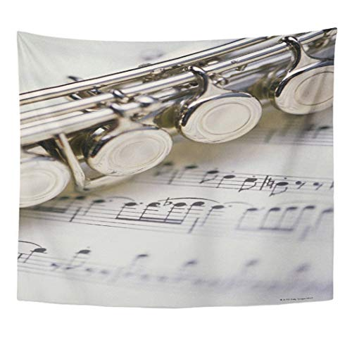 Semtomn Tapestry Artwork Wall Hanging Object Flute on Sheet Focus Selective Part Musical Note 50x60 Inches Home Decor Tapestries Mattress Tablecloth Curtain Print]()