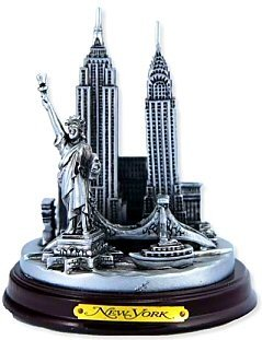 3.5 Inch Pewter Statue - New York 3-D Round Pewter Model