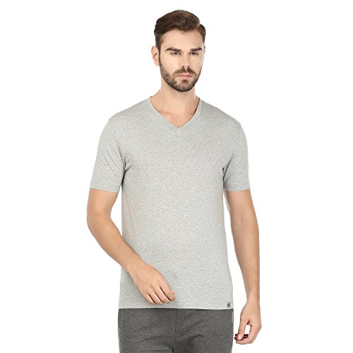 Macroman M - Series Men's 2-Pack V-Neck Cotton Jersey Round Neck with Sleeves Tank Top L Grey ()