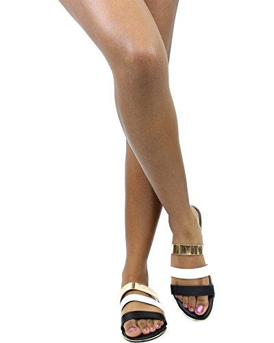 Bambus Kvinners 3 Stropp Sandal Sorte