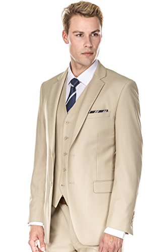 Braveman Men's Classic 3 Piece Polyester Blend Suit, Tan, Size 38Sx32W