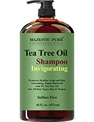 Majestic Pure Tea Tree Shampoo, Sulfate Free with 5% Tea Tree Essential Oil, Deep Cleansing for Dandruff, Dry Scalp and Itchy Hair, for Men & Women- 16 fl oz
