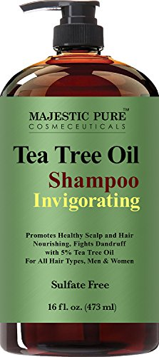Majestic Pure Tea Tree Shampoo, Sulfate Free with 5% Tea Tree Essential Oil, Deep Cleansing for Dandruff, Dry Scalp and Itchy Hair, for Men & Women- 16 fl (Tea Tree Shampoo)
