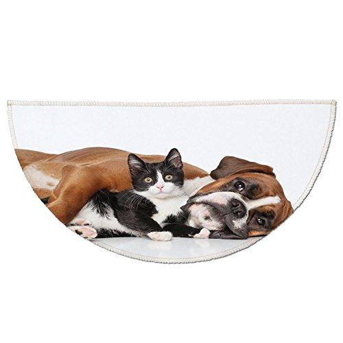 Half Round Door Mat Entrance Rug Floor Mats,Funny,Cat and Dog Cuddling Lying on Floor Friendship Theme Cute Animals Togetherness,Brown Black White,Garage Entry Carpet Decor for House Patio Grass Water - Cuddling Mat