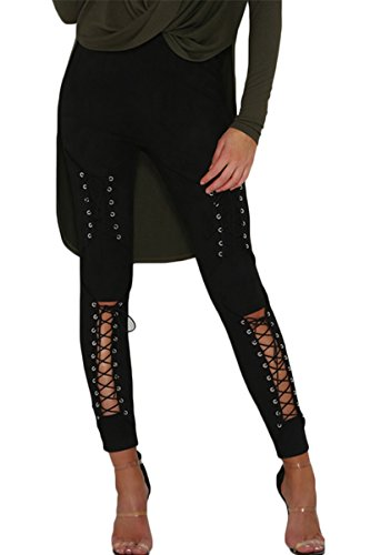 Sunfury Woman's Stylish Criss Cross Cutout Faux Suede Full Length Leggings Tights Pants Black (Eyelet Bandeau)