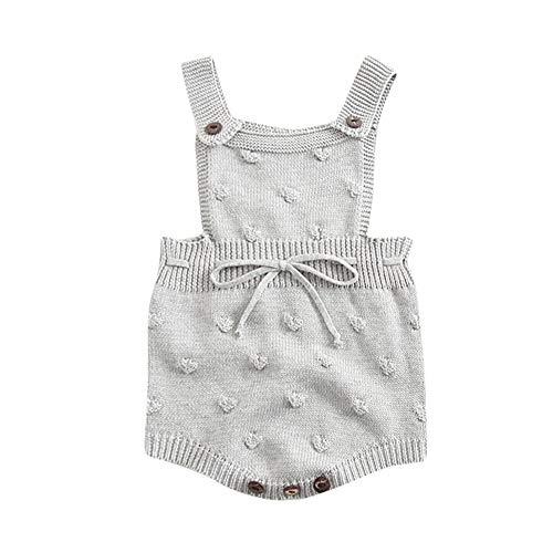 Waymine Infant Baby Boys Girls Knit Romper Suspender Bubble Bal Crochet Bodysuit Gray -