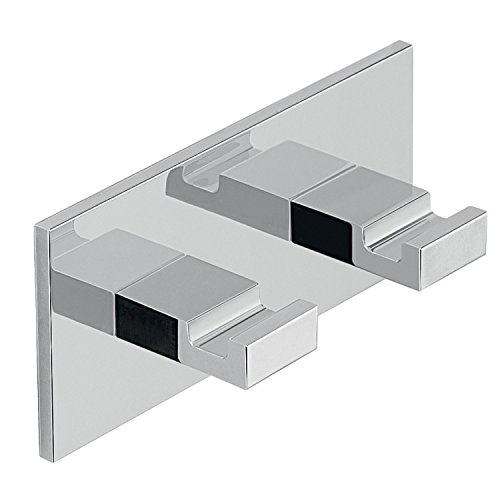 Adhesive Mounted Square Chrome Aluminum Double Hook D126