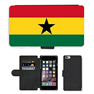 GoGoMobile Flip PU Leather Wallet Case with Credit Card Slots // V00001065 ghana National Country Flag // Apple iPhone 6 PLUS 5.5""