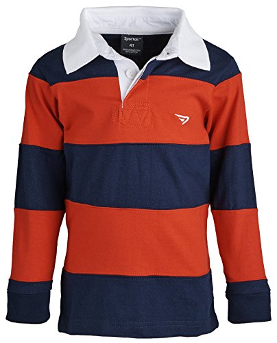 Sportoli174; Big Boys 100% Cotton Wide Striped Long Sleeve Polo Rugby Shirt - Red (Size - Shirt Striped Ribbed Polo