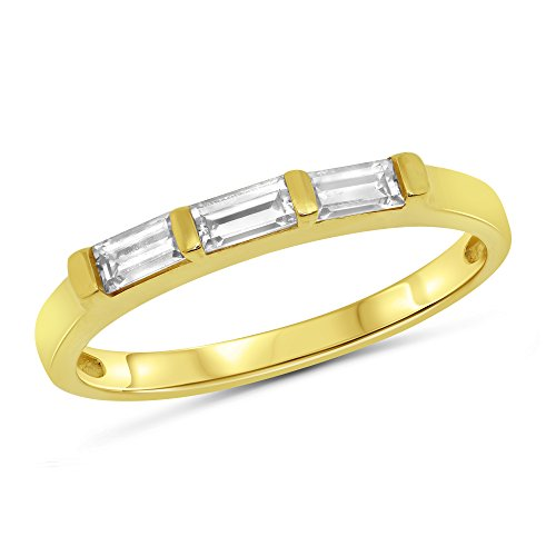 0.25 Carat (ctw) 14k Yellow Gold Baguette 3 (Three) Stone Anniversary Ring Wedding Band (2mm) 1/4 CT - Size 6.5