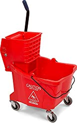 Carlisle 3690405 Commercial Mop Bucket With Side Press Wringer, 35 Quart Capacity, Red