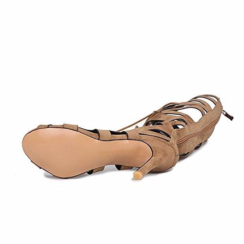 mate cordones o brown botas tacones Tama de canister Lace zapatos gamuza de altos Up del zapatos 7nXX8