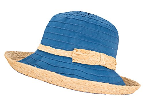 Woven Straw Ribbon Crusher Sun Hat, Ladies Packable Short Brim Bucket Cap w/Bow (Teal) ()
