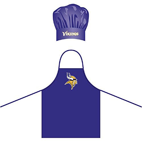 Purple Apron Bbq (NFL Minnesota Vikings Chef Hat and Apron Set, Purple,)