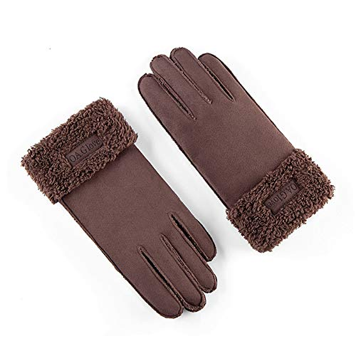 AINIYF Full Finger Motorcycle Gloves| Men's Winter Suede Outdoor Gloves Warm Winter Racing Motorcycle Thicken Windproof Plus Velvet Student (Color : Coffee color) by AINIYF (Image #4)