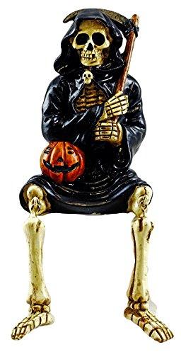 Grim Reaper Skeleton Shelf Sitter Halloween Figurine (Shelf Sitter Skeleton)
