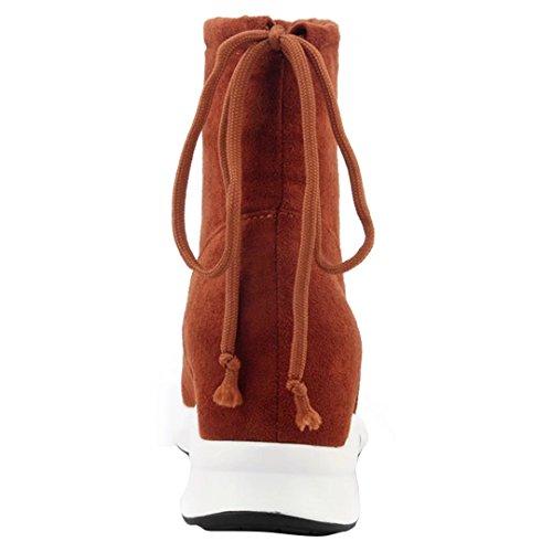 AIYOUMEI Damen Nubukleder Chukka Boots Flach Stiefelettten mit Schnürsenkel und Innerhalb der Zunahme Kurzschaft Stiefel Braun