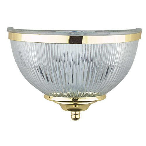 Sunset Lighting F9041-10 Wall Sconce with Clear Prismatic Glass, Polished Brass - Glass Prismatic 10